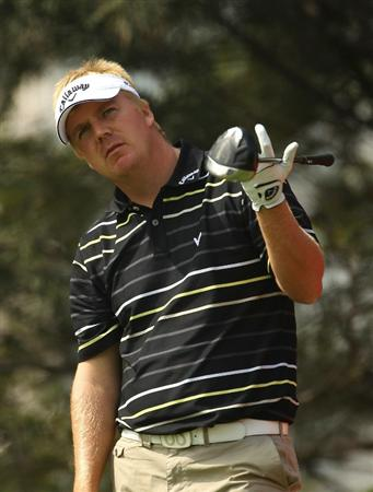 NEW DELHI, INDIA - FEBRUARY 17:  Ross McGowan of England in action during the first round of the Avantha Masters held at The DLF Golf and Country Club  on February 17, 2011 in New Delhi, India.  (Photo by Ian Walton/Getty Images)