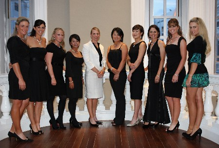 SINGAPORE - FEBRUARY 27:  From left to right: Suzann Pettersen, Nicole Castrale, Morgan Pressel, Ai Miyazato, Annika Sorenstam, Se Ri Pak, Shi Hyun Ahn , Stacy Prammanasudh, Paula Creamer and Natlaie Gulbis during the Welcome Party prior to the start of the HSBC Women's Champions at Tanah Merah Country Club on February 27, 2008 in Singapore.  (Photo by Ross Kinnaird/Getty Images)