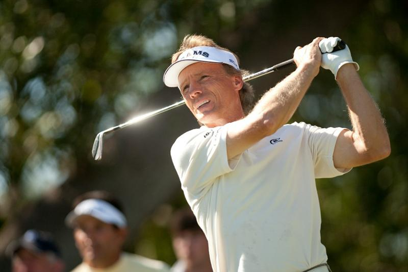 SAN ANTONIO, TX - OCTOBER 31: Bernhard Langer of Germany follows through on a tee shot during the final round of the AT&T Championship at Oak Hills Country Club on October 31, 2010 in San Antonio, Texas. (Photo by Darren Carroll/Getty Images)