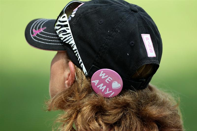 FT. WORTH, TX - MAY 29:  :  A fan shows her support for Amy Mickelson, who is battling breast cancer, during the third round of the 2010 Crowne Plaza Invitational at the Colonial Country Club on May 29, 2010 in Ft. Worth, Texas.  (Photo by Scott Halleran/Getty Images)
