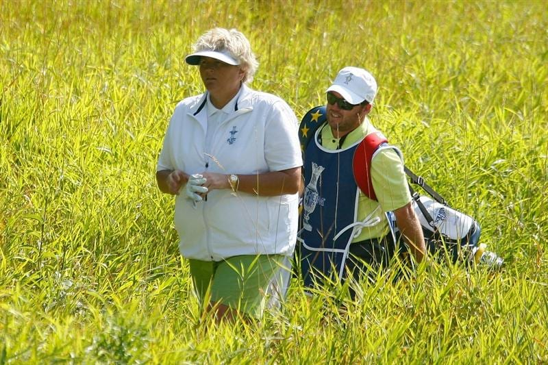 SUGAR GROVE, IL - AUGUST 19:  Laura Davies of the European Team walks with her caddie Jonathan Scott to a green during a practice round prior to the start of the 2009 Solheim Cup at Rich Harvest Farms on August 19, 2009 in Sugar Grove, Illinois.  (Photo by Scott Halleran/Getty Images)