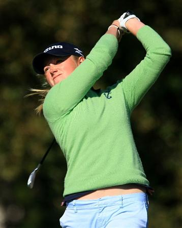 DAYTONA BEACH, FL - DECEMBER 07:  Stacy Lewis hits her tee shot on the 17th hole during the final round of the LPGA Qualifying School at LPGA International on December 7, 2008 in Daytona Beach, Florida.  (Photo by Scott Halleran/Getty Images)