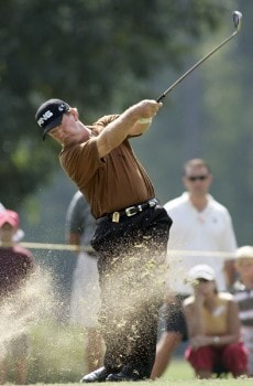 Bob Gilder tees off on the 11th hole during the final round of the 2005 SAS Championship Sunday, Oct. 2, 2005, at Prestonwood Country Club in Cary, N.C.Photo by Grant Halverson/WireImage.com