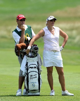 HAVRE DE GRACE, MD - JUNE 07:  Maria Hjorth of Sweden waits to hit her second shot on the par 4, first hole during the first round of the 2007 McDonalds LPGA Championship held at Bulle Rock golf course June 7, 2007 in Havre de Grace, Maryland.  (Photo by David Cannon/Getty Images)