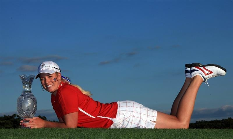 SUGAR GROVE, IL - AUGUST 23: Brittany Lincicome of the USA with the trophy after the Sunday singles matches at the 2009 Solheim Cup Matches, at the Rich Harvest Farms Golf Club on August 23, 2009 in Sugar Grove, Ilinois (Photo by David Cannon/Getty Images)