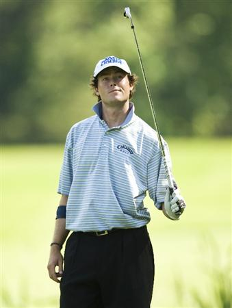 RALEIGH, NC - MAY 29: Kyle Reifers looks around while waiting to hit his approach shot on the sixth hole during the second round of the Rex Hospital Open Nationwide Tour golf tournament at the TPC Wakefield Plantation on May 29, 2009 in Raleigh, North Carolina. (Photo by Chris Keane/Getty Images)
