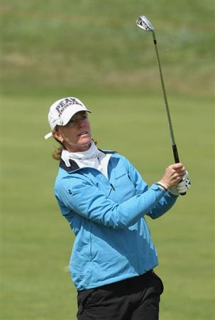 LYTHAM ST ANNES, ENGLAND - JULY 30:  Helen Alfredsson of Sweden hits her second shot on the 2nd hole during the first round of the 2009 Ricoh Women's British Open Championship held at Royal Lytham St Annes Golf Club, on July 30, 2009 in  Lytham St Annes, England.  (Photo by David Cannon/Getty Images)
