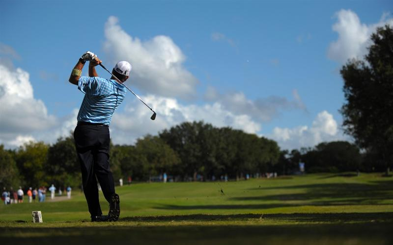SAN ANTONIO - OCTOBER 25:  Jay Haas makes a tee shot on the 14th hole during the final round of the PGA Champions Tour AT&T Championship at the Oak Hills Country Club on October 25, 2009 in San Antonio, Texas.  (Photo by Robert Laberge/Getty Images)