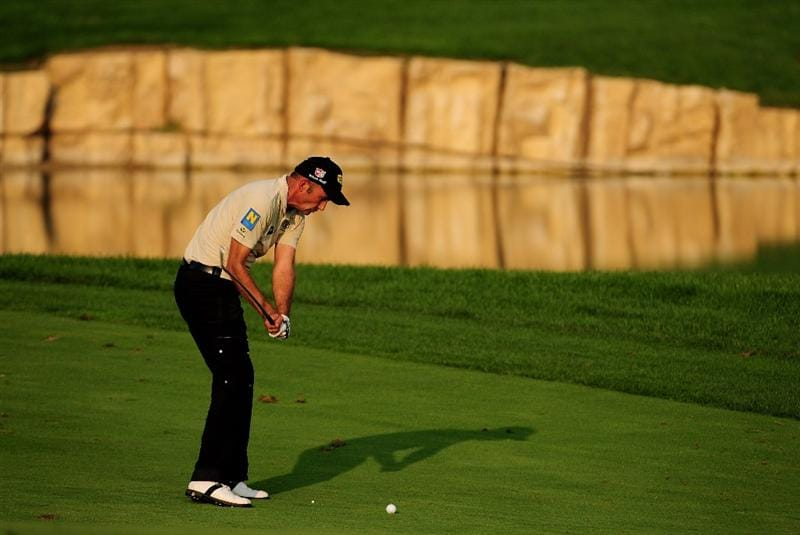 VIENNA, AUSTRIA - SEPTEMBER 18:  Markus Brier of Austria plays into the 18th green during the second round of the Austrian Golf Open at Fontana Golf Club on September 18, 2009 in Vienna, Austria.  (Photo by Richard Heathcote/Getty Images)