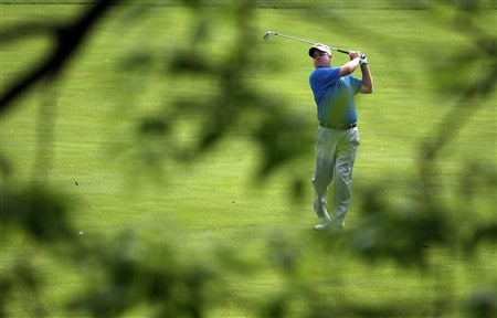 DUBLIN, OH - MAY 30:  Carl Pettersson of Sweden hits his second shot on the 11th hole during the second round of The Memorial on May 30, 2008 at the Muirfield Village Golf Club in Dublin, Ohio.  (Photo by Andy Lyons/Getty Images)