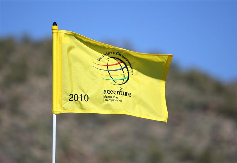 MARANA, AZ - FEBRUARY 15 : A flag pin waves in the breeze on the practice putting green during the first practice round of the WGC-Accenture Match Play Championship at the Ritz-Carlton Golf Club on February 15, 2010 in Marana, Arizona. (Photo by Hunter Martin/Getty Images)