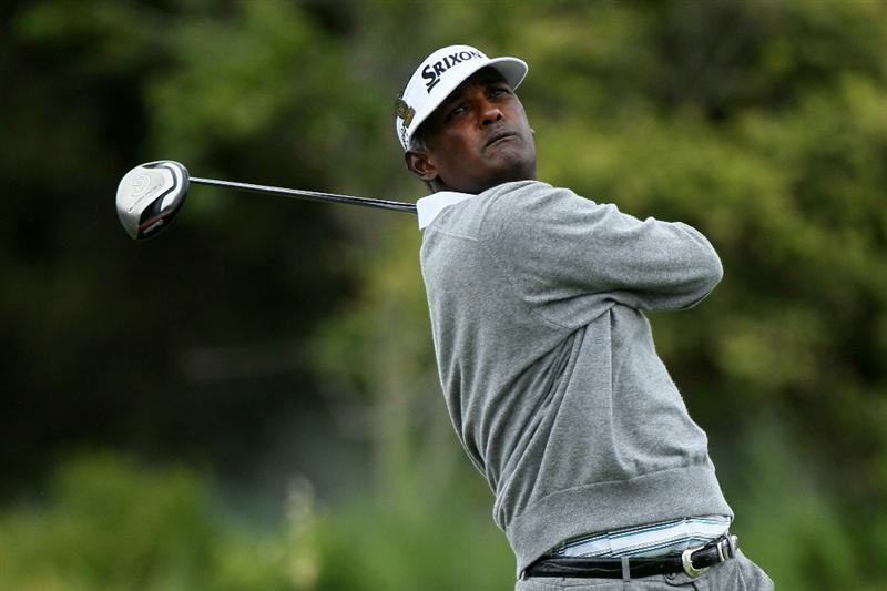PEBBLE BEACH, CA - JUNE 18:  Vijay Singh of Fiji hits his tee shot on the 13th hole during the second round of the 110th U.S. Open at Pebble Beach Golf Links on June 18, 2010 in Pebble Beach, California.  (Photo by Stephen Dunn/Getty Images)