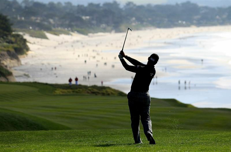 PEBBLE BEACH, CA - FEBRUARY 13:  Tom Pernice Jr. hits from the 9th fairway at the AT&T Pebble Beach National Pro-Am- Final Round at the Pebble Beach Golf Links on February 13, 2011 in Pebble Beach, California.  (Photo by Jed Jacobsohn/Getty Images)