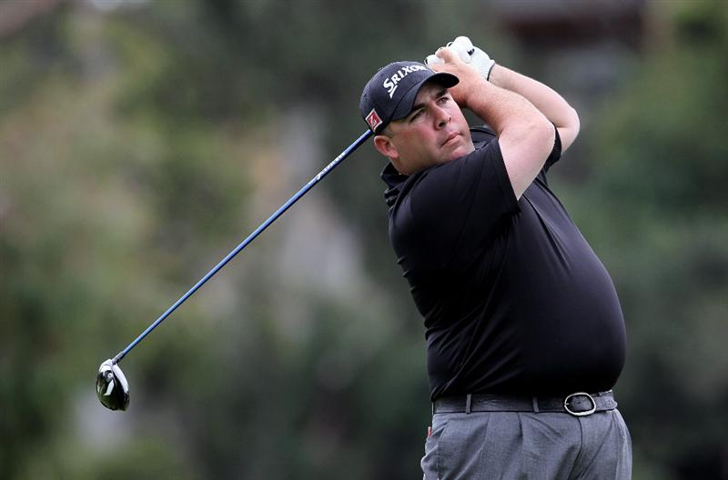PACIFIC PALISADES, CA - FEBRUARY 06:  Kevin Stadler hits a tee shot on the second hole during the third round of the Northern Trust Open at Riviera Country Club on February 6, 2010 in Pacific Palisades, California.  (Photo by Jeff Gross/Getty Images)