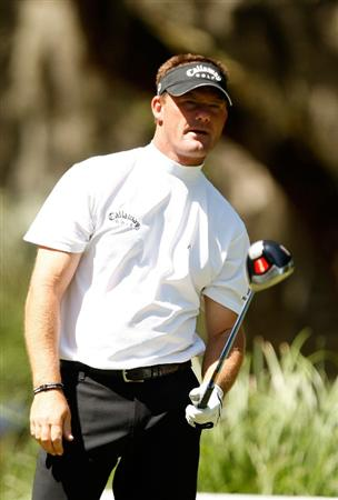 HILTON HEAD ISLAND, SC - APRIL 17:  Alex Cejka reacts to his tee shot on the 2nd hole during the second round of the Verizon Heritage at Harbour Town Golf Links on April 17, 2009 in Hilton Head Island, South Carolina.  (Photo by Streeter Lecka/Getty Images)