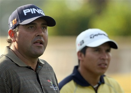 PONTE VEDRA BEACH, FL - MAY 07:  (L-R) Angel Cabrera and Andres Romero of Argentina wait on a tee box during practice for the THE PLAYERS Championship on THE PLAYERS Stadium Course at TPC Sawgrass on May 7, 2008 in Ponte Vedra Beach, Florida.  (Photo by Scott Halleran/Getty Images)