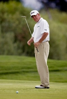 SUNRIVER, OR - AUGUST 16: Jay Haas reacts to missed par putt at the 18th hole, during the third round of the Champions Tour JELD-WEN Tradition at the Crosswater Club on August 16, 2008 in Sunriver, Oregon. (Photo by Steven Gibbons/Getty Images)