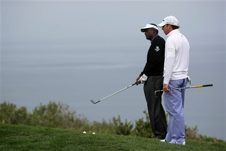SAN DIEGO - JUNE 11:  Vijay Singh of Fiji and Sergio Garcia of Spain practice during the third day of previews to the 108th U.S. Open at the Torrey Pines Golf Course (South Course) on June 11, 2008 in San Diego, California.  (Photo by Doug Pensinger/Getty Images)