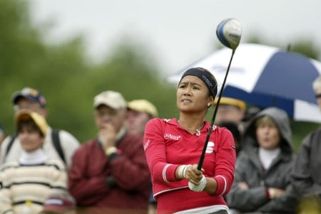 Jennifer Rosales watches her tee shot during the second round of the 2005 Wegman's Rochester LPGA at Locust Hill Country Club in  Pittsford, New York on June 17, 2005.Photo by Michael Cohen/WireImage.com