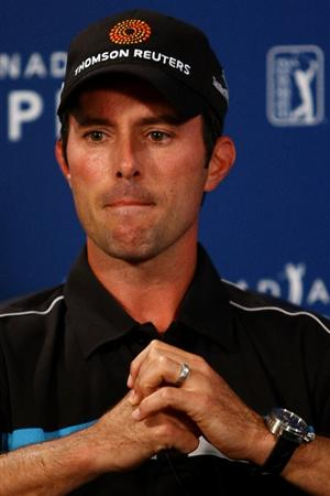 OAKVILLE, ONTARIO - JULY 26:  Mike Weir of Canada speaks at a press conference addressing his round two score card and ball movement incident during round three of the RBC Canadian Open at Glen Abbey Golf Club on July 26, 2009 in Oakville, Ontario, Canada.  (Photo by Chris McGrath/Getty Images)