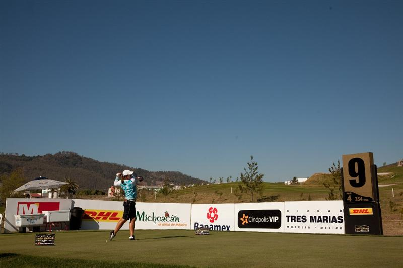 MORELIA, MEXICO - APRIL 30: Karin Sjodin of Sweden hits a tee shot during the second round of the Tres Marias Championship at the Tres Marias Country Club on April 30, 2010 in Morelia, Mexico. (Photo by Darren Carroll/Getty Images)