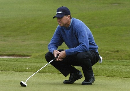 Bob Tway lines up a putt  in first-round competition March 3, 2005  at the Ford Championship at Doral in Miami.