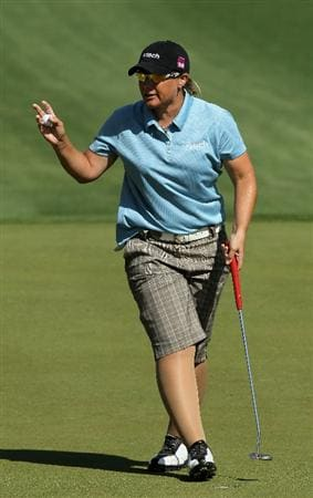 RANCHO MIRAGE, CA - APRIL 4:  Karen Stupples of England holds up her ball after making a birdie on the second hole during the final round of the Kraft Nabisco Championship at Mission Hills Country Club on April 4, 2010 in Rancho Mirage, California.  (Photo by Stephen Dunn/Getty Images)