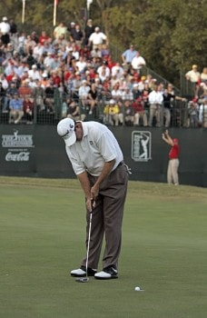 Bart Bryant celebrates after sinking a putt on the 18th green during the final round to win THE TOUR Championship at East Lake Golf Club in Atlanta, Georgia on November 6, 2005.Photo by Sam Greenwood/WireImage.com