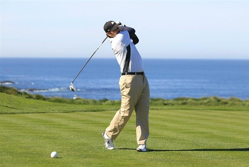 PEBBLE BEACH, CA - FEBRUARY 11:  Professional football player Tony Romo hits from the sixth tee box at the AT&T Pebble Beach National Pro-Am- Round Two at the Spyglass golf club on February 11, 2011 in Pebble Beach, California.  (Photo by Jed Jacobsohn/Getty Images)