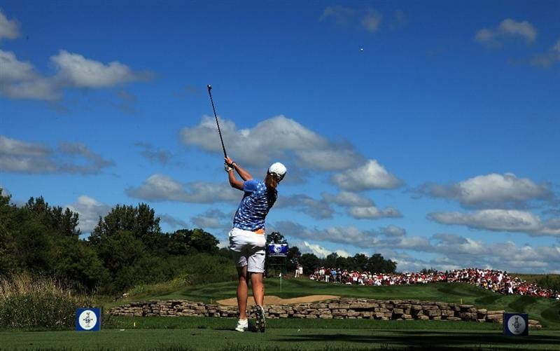 SUGAR GROVE, IL - AUGUST 23: Helen Alfredsson of Sweden on the 5th hole during the Sunday singles matches at the 2009 Solheim Cup Matches, at the Rich Harvest Farms Golf Club on August 23, 2009 in Sugar Grove, Ilinois (Photo by David Cannon/Getty Images)