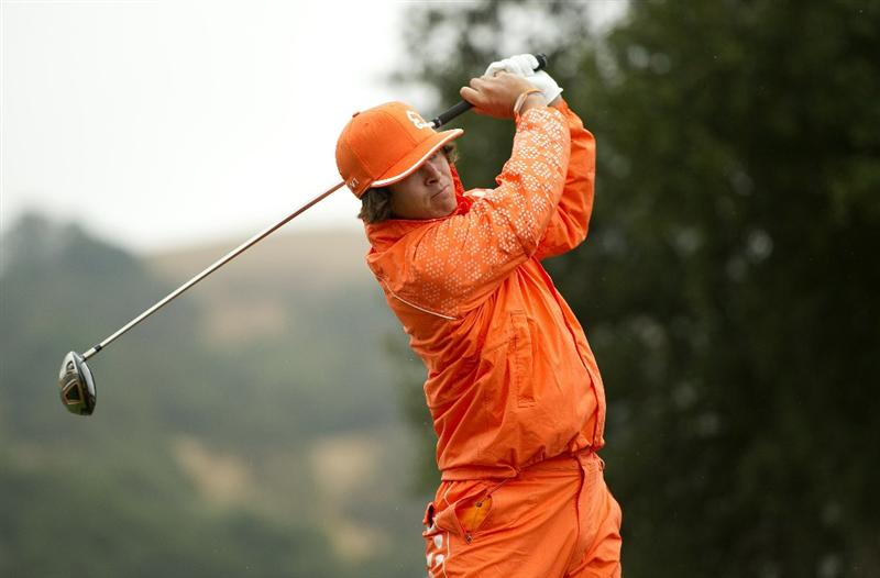 SAN MARTIN, CA - OCTOBER 17:  Rickie Fowler makes a tee shot on the second hole during the final round of the Frys.com Open at the CordeValle Golf Club on October 17, 2010 in San Martin, California.  (Photo by Robert Laberge/Getty Images)
