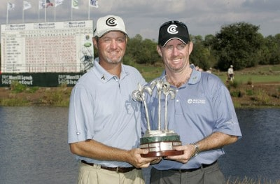 Rod Pampling and Jerry Kelly with the trophy after the third and final round of the Merrill Lynch Shootout at the Tiburon Golf Club in Naples, Florida on November 12, 2006. PGA TOUR - 2006 Merrill Lynch Shootout - Final RoundPhoto by Michael Cohen/WireImage.com