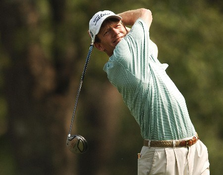 Brad Faxon hits from the sixth tee during the second round of the 2005 Shell Houston Open, at the Redstone Golf Club in Houston, Texas April 22, 2005.Photo by Steve Grayson/WireImage.com