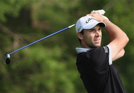 MILAN, ITALY - MAY 08:  Oliver Wilson of England plays his tee shot on the nineth hole during the first round of the MC Methorios Capital Italian Open Golf at The Castello Di Tolcinasco Golf Club on May 8, 2008 in Milan, Italy.  (Photo by Stuart Franklin/Getty Images)