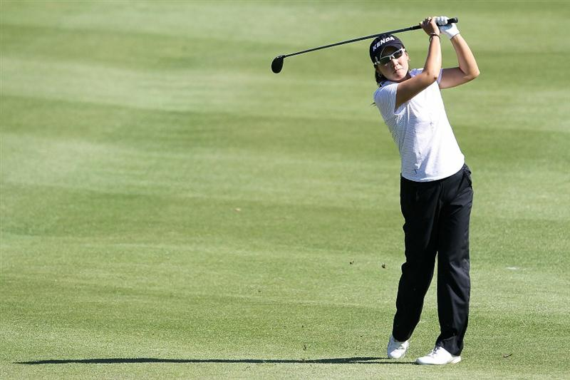 SHIMA, JAPAN - NOVEMBER 05:  Candie Kung of Taiwan plays an approach shot on the 18th hole during the round one of the Mizuno Classic at Kintetsu Kashikojima Country Club on November 5, 2010 in Shima, Mie, Japan.  (Photo by Kiyoshi Ota/Getty Images)