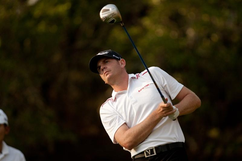 SAN ANTONIO, TX - APRIL 15: Brendan Steele follows through on a tee shot during the second round of the Valero Texas Open at the AT&T Oaks Course at TPC San Antonio on April 15, 2011 in San Antonio, Texas. (Photo by Darren Carroll/Getty Images)