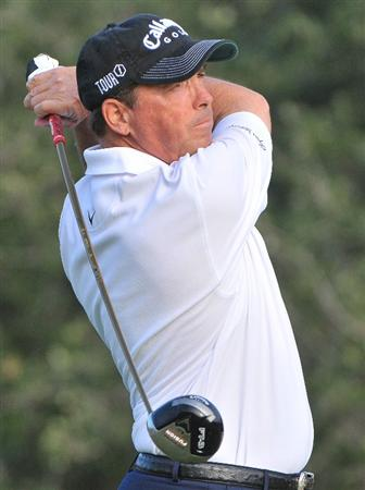 SAN ANTONIO,TX - OCTOBER 10: Olin Browne tees off the 5th hole during the second round of the Valero Texas Open  held at La Cantera Golf Club on October 10, 2008 in San Antonio, Texas  (Photo by Marc Feldman\Getty Images)