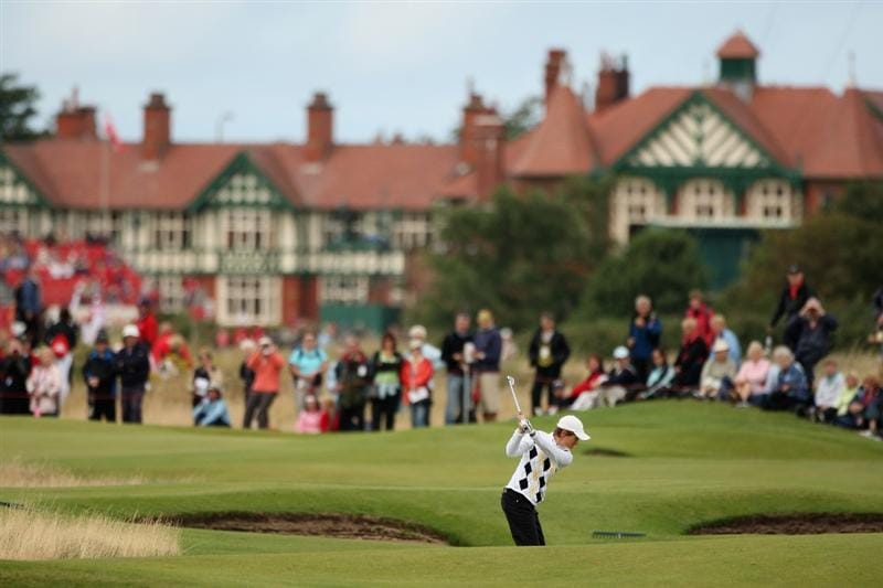 LYTHAM ST ANNES, ENGLAND - AUGUST 01:  Catriona Matthew of Scotland hits her second shot on the 4th hole during the third round of the 2009 Ricoh Women's British Open Championship held at Royal Lytham St Annes Golf Club, on August 1, 2009 in Lytham St Annes, England.  (Photo by Warren Little/Getty Images)