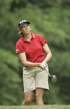 Wendy Ward watches her tee shot on the second hole during the final round at the Chick-fil-A Charity Championship May 15, 2005, at Eagles Landing Country Club, in Stockbridge, Georgia.Photo by Rex Brown/WireImage.com
