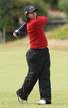 ST ANDREWS, UNITED KINGDOM - AUGUST 01:  Julieta Granada of Paraguay tees off on the 18th hole during the Pro-Am prior to the 2007 Ricoh Women's British Open held on the Old Course at St Andrews on August 1, 2007 in St Andrews, Scotland.  (Photo by David Cannon/Getty Images)