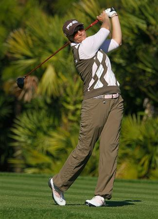 ORLANDO, FL - DECEMBER 05:  Maria Hjorth of Sweden hits her tee shot on the 13th hole during the final round of the LPGA Tour Championship at the Grand Cypress Resort on December 5, 2010 in Orlando, Florida.  (Photo by Scott Halleran/Getty Images)