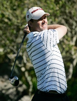 PEBBLE BEACH, CA - FEBRUARY 7:  Padraig Harrington of Ireland hits a tee shot on the 16th hole during the first round of the AT&T Pebble Beach National Pro-Am at the Pebble Beach Golf Links February 7, 2008 in Pebble Beach, California.  (Photo by Jeff Gross/Getty Images)