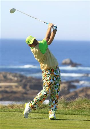 PEBBLE BEACH, CA - FEBRUARY 11:  John Daly hits from the third tee box at the AT&T Pebble Beach National Pro-Am- Round Two at the Spyglass golf club on February 11, 2011 in Pebble Beach, California.  (Photo by Jed Jacobsohn/Getty Images)