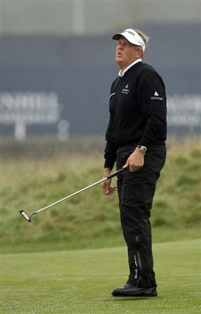 ST ANDREWS, SCOTLAND - OCTOBER 08:  Colin Montgomerie of Scotland reacts after putting on the first green during the second round of The Alfred Dunhill Links Championship at The Old Course on October 8, 2010 in St Andrews, Scotland.  (Photo by Ross Kinnaird/Getty Images)