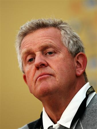NEWPORT, WALES - SEPTEMBER 28:  Europe Team Captain Colin Montgomerie answers questions from the media at a press conference following a practice round prior to the 2010 Ryder Cup at the Celtic Manor Resort on September 28, 2010 in Newport, Wales.  (Photo by Ross Kinnaird/Getty Images)