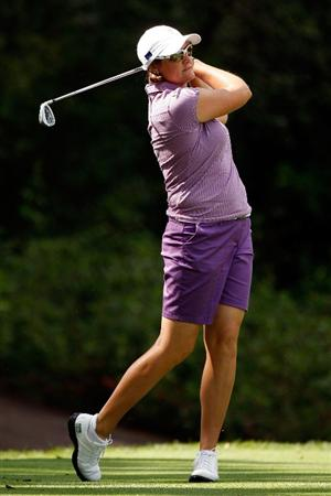 SUGAR GROVE, IL - AUGUST 20:  Maria Hjorth of the European Team tees off during a practice round prior to the start of the 2009 Solheim Cup at Rich Harvest Farms on August 20, 2009 in Sugar Grove, Illinois.  (Photo by Chris Graythen/Getty Images)