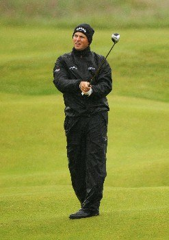 CARNOUSTIE, UNITED KINGDOM - JULY 22:  Niclas Fasth of Sweden hits a shot on the second hole during the final round of The 136th Open Championship at the Carnoustie Golf Club on July 22, 2007 in Carnoustie, Scotland.  (Photo by Warren Little/Getty Images)