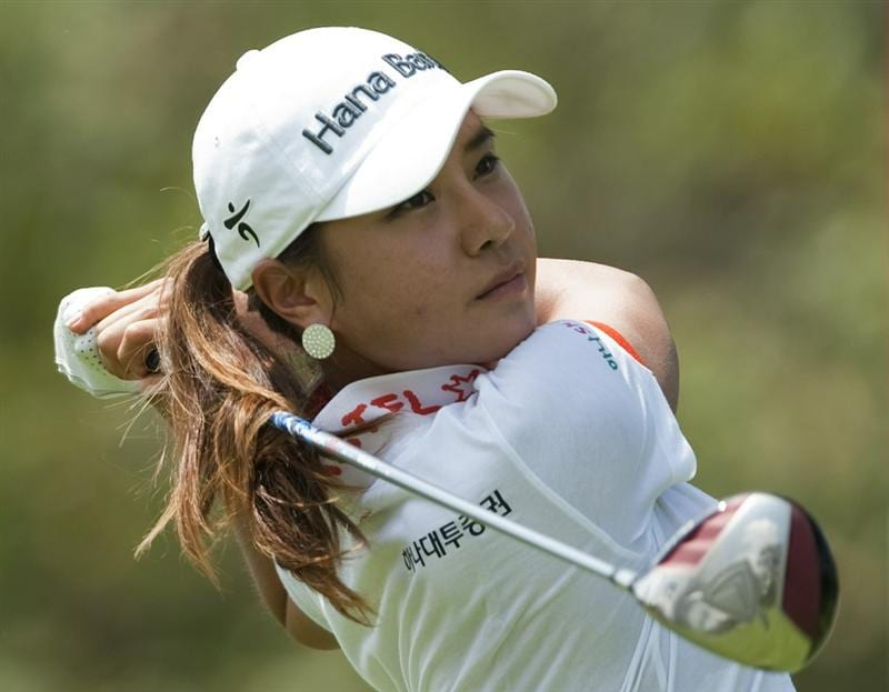 CHON BURI, THAILAND - FEBRUARY 19:  Hee Young Park of South Korea tees off on the 9th hole during day three of the LPGA Thailand at Siam Country Club on February 19, 2011 in Chon Buri, Thailand.  (Photo by Victor Fraile/Getty Images)