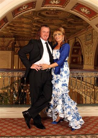 LOUISVILLE, KY - SEPTEMBER 17:  Miguel Angel Jimenez (L) of Spain and the European Ryder Cup team poses with his wife Montserrat Bravo Ramirez at the Brown Hotel prior to the start of the 2008 Ryder Cup September 17, 2008 in Louisville, Kentucky. (Photo by David Cannon/Getty Images)