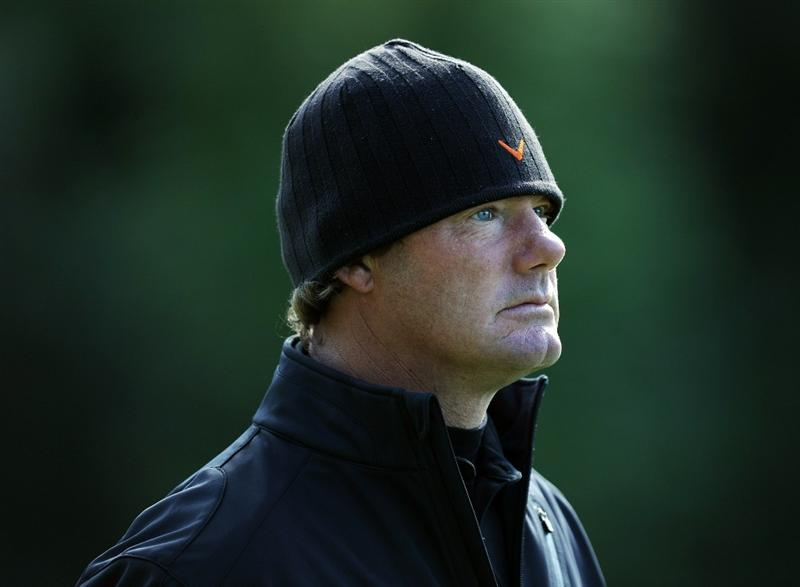 PACIFIC PALISADES, CA - FEBRUARY 17:  Alex Cejka of Germany stays warm on the green with a hat on the 12th hole during the first round of the Northern Trust Open at the Riviera Country Club on February 17, 2011 in Pacific Palisades, California.  (Photo by Harry How/Getty Images)